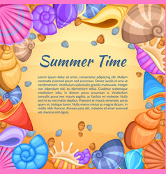 summer travel card with cartoon sea shell vector image vector image