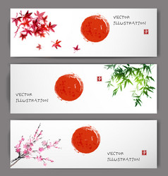 Three banners with sun maple bamboo and sakura vector