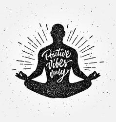 Vintage meditation apparel print t-shirt design vector