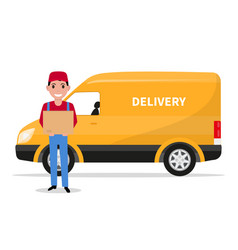 Cartoon delivery man with carton box a car vector
