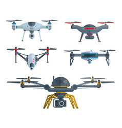 Different flying drones isolated on white vector