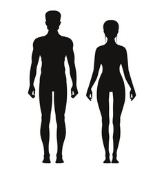Silhouette of sporty male and female standing vector
