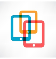 Three colored ipads vector