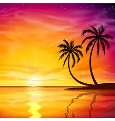 Sunset Sunrise with Palm Trees vector image