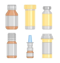 Drug bottle set colorful line icon vector