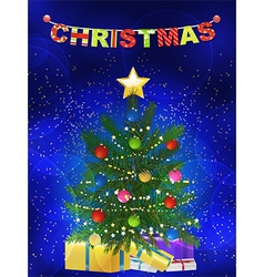 Christmas tree and presents blue background vector