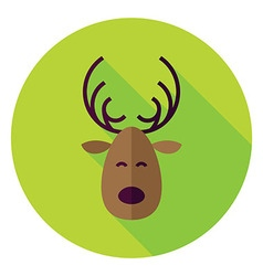 Flat design christmas deer circle icon vector