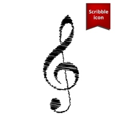 Violin clef with pen effect vector