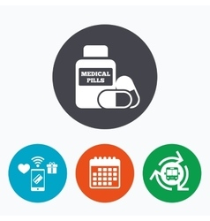 Medical pills bottle sign icon drugs symbol vector