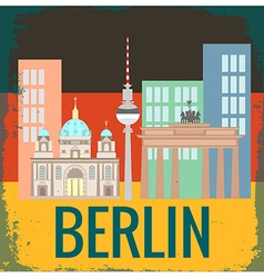 Attractions berlin on german flag background grung vector