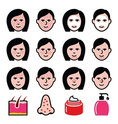 Skin problems - acne spots treatment icons set vector image