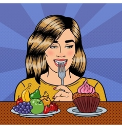 Woman choosing food between fruits and cupcake vector