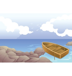 a boat in sea vector image vector image