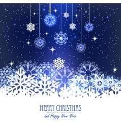 Abstract Christmas Background Snowflakes night vector image vector image