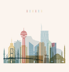 Ankara skyline detailed silhouette vector