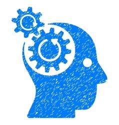 Brain gears rotation grainy texture icon vector