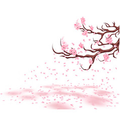 Branches of a fading pink cherry sakura the vector