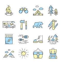 Camping Icon Set In Color vector image vector image