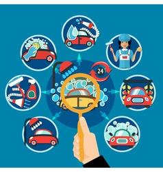 Car wash magnifier concept vector
