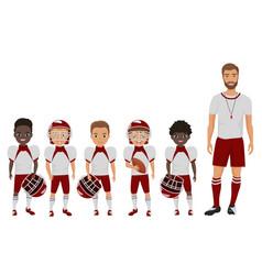 cartoon flat school american football boys vector image