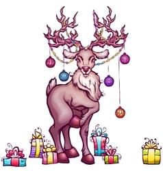 Christmas deer in cartoon style vector image vector image