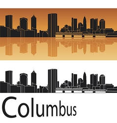Columbus skyline in orange background vector