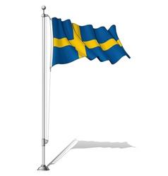 Flag Pole Sweden vector image vector image