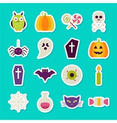 Flat halloween party objects stickers set vector