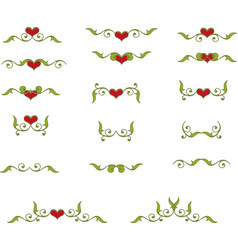 floral heart elements vector image