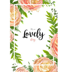 Floral watercolor style card design pink peach vector