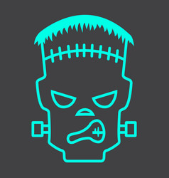 Frankenstein line icon halloween and scary vector