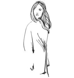 Girls fashion cartoon kids sketch vector