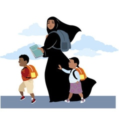 Going to school together vector image vector image