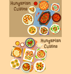 Hungarian cuisine lunch icon set for food design vector