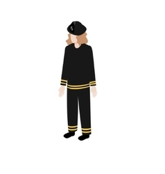 Isometric woman fireman vector