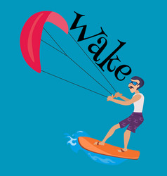 kitesurfing water extreme sports isolated design vector image vector image