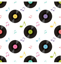 Pattern with colorful music notes and vinil vector