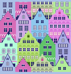 seamless pattern with old houses vector image vector image