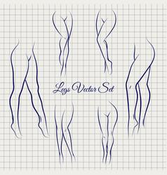 sexual woman legs sketch collection vector image vector image