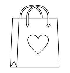 shopping bag with heart icon outline style vector image