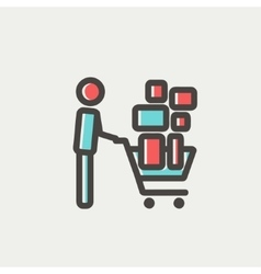Shopping cart full of shopping bags thin line icon vector image vector image