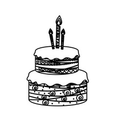 Sketch silhouette birthday cake two floors with vector