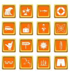 Surfing icons set orange vector