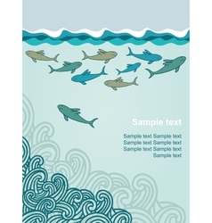 Template with cartoon sharks vector image