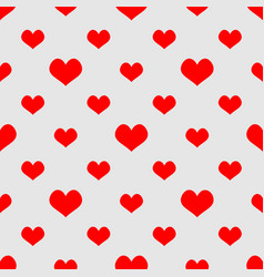 tile pattern with red hearts on grey background vector image