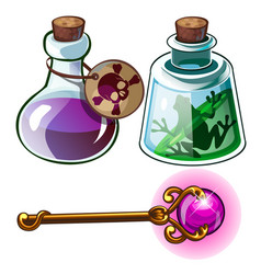 Toxic poison frog in bottle and wizards gold wand vector