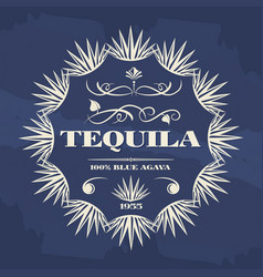 vintage tequila banner or poster design vector image vector image