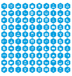 100 hotel services icons set blue vector