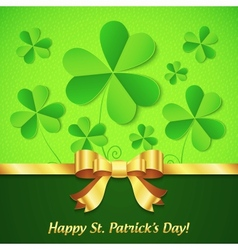 Green paper clovers background for Patricks Day vector image