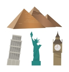 Pyramid pisa tower statue of liberty big ben vector